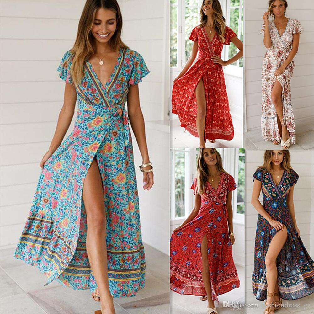 2c71045b8d9b7 5 Styles Womens Maxi Dress Bohemian Holiday Beach Dress V Neck Sexy Long  Summer Floral Print boho Dresses Hot Ladies Plus Size 2019