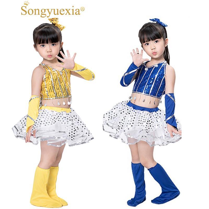 58f6c8854 2019 Modern Jazz Dance Costume Girl Sexy Sequin Top Salsa Skirts Hip Hop Dance  Costumes Kids Cheerleader Costume Girl Wear From Biangye, $27.44 |  DHgate.Com
