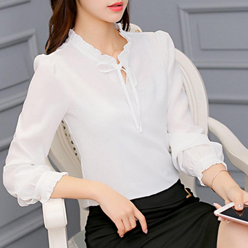2019 Nueva Moda Primavera Verano Ol Blusa Mujeres Camisas De Gasa De Manga Larga Arco Oficina Senoras Solido Rosa Blanco Negro Tops U5528