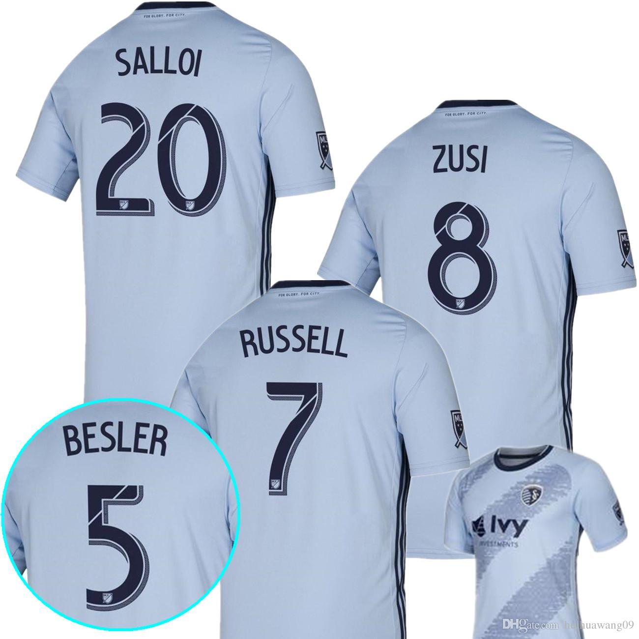 new york 95aed e640c New 2019 2020 Sporting Kansas City MLS Soccer Jerseys ZUSI SALLOI RUSSELL  ILIE Home jersey Camiseta de futbol Sporting KC football shirt