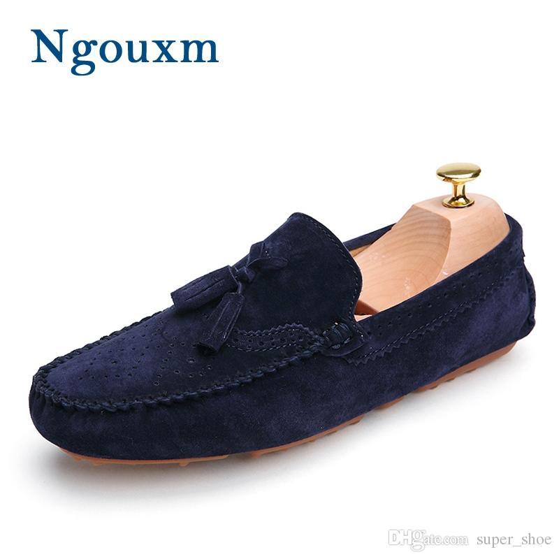 3a14ca493d5da Compre Ngouxm Men Mocasines Azul Marino Mocasines De Cuero Genuino ...