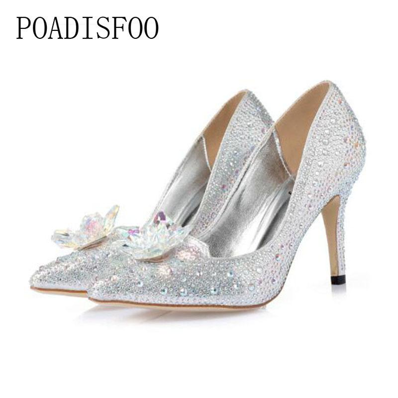 Dress Poadisfoo Women S Natural Crystal Pumps Flats Party High Quality Heels  Shoes Elegant Women Transparent Shoes Pumps Ycb 1111 9 Scholl Shoes Silver  High ... 67f3f615cc2