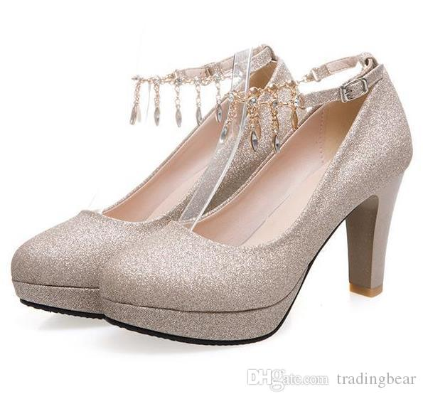 Plus size 35 to 46 Glitter rhinestone chain thick high heels wedding ashoes gold silver pink sexy women designer shoes