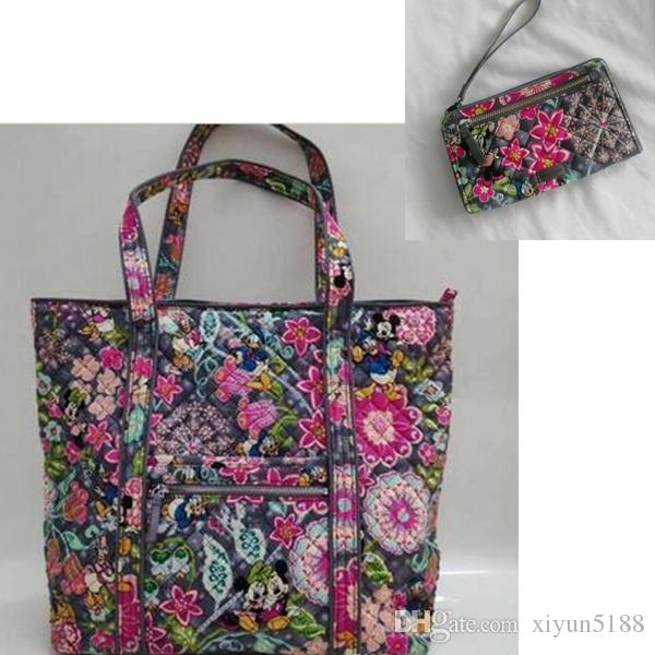 New pattern Cartoon Print Iconic cotton Tote Bag with zip wristlets wallet
