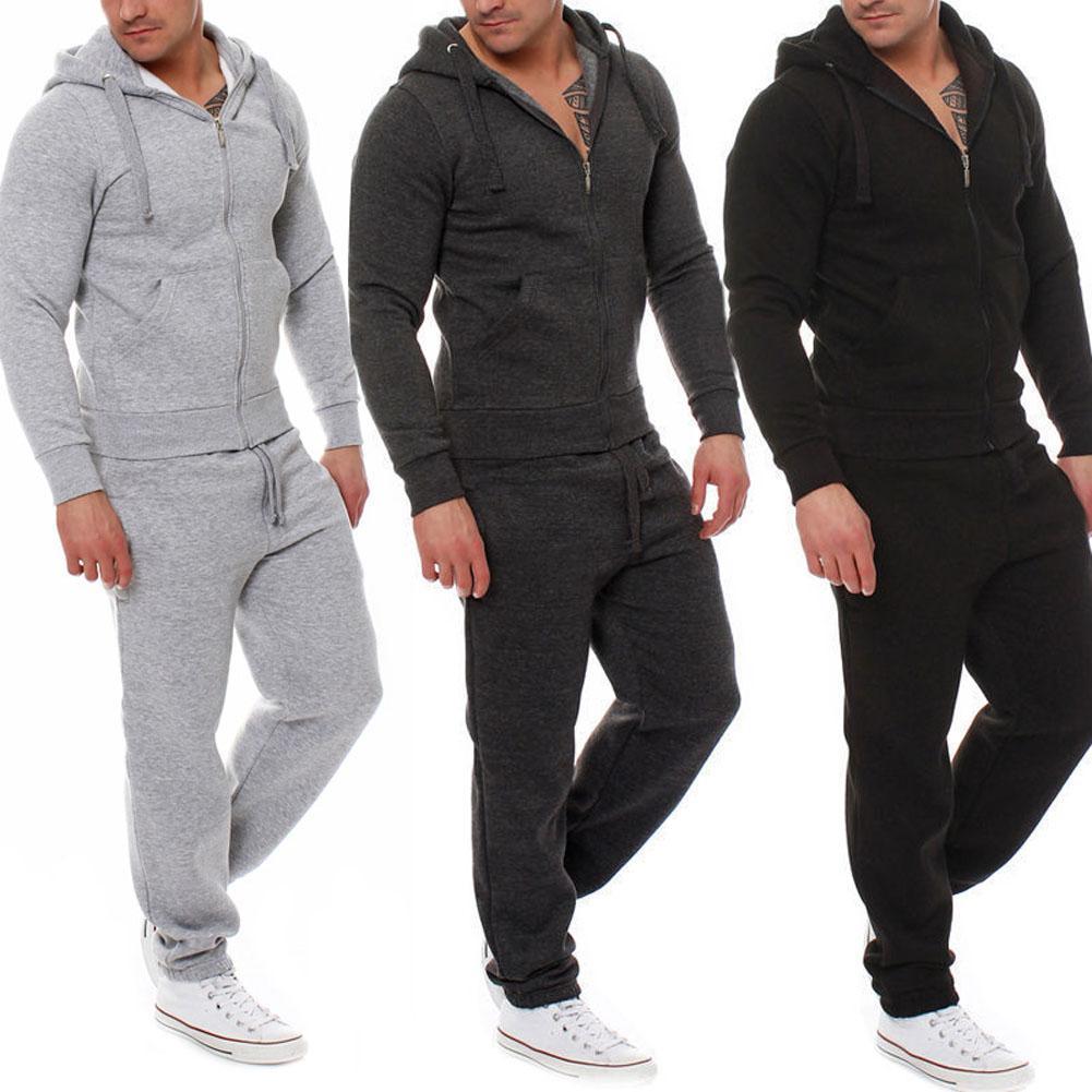 Compre Otoño Invierno Hombres Chándal Conjunto De 2 Piezas Tops Pantalones  Con Capucha Abrigo Pantalones Prendas De Abrigo Sudadera Casual Traje XRQ88  A ... 981eeaa7ae794