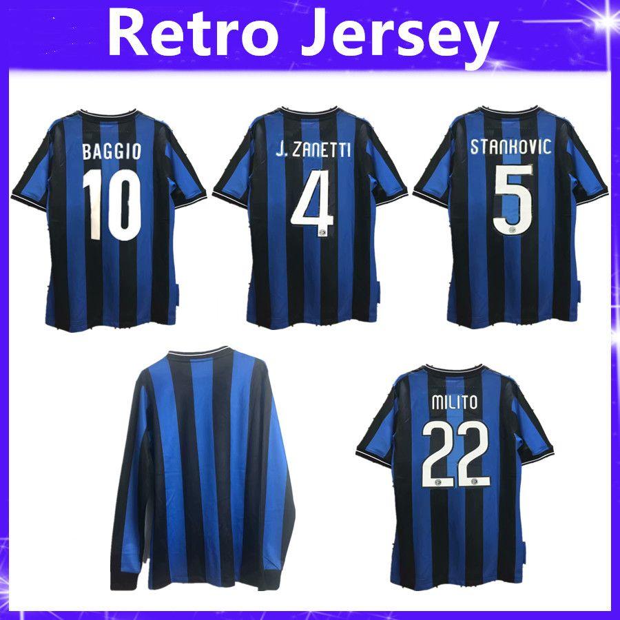 brand new f0e1c a4832 09 10 Inter Milito J.Zanetti Materazzi Samuel Retro Long Sleeve Soccer  Jersey 2009 2010 Milan Sneijder Milano Classic Vintage MAGLIA Calcio