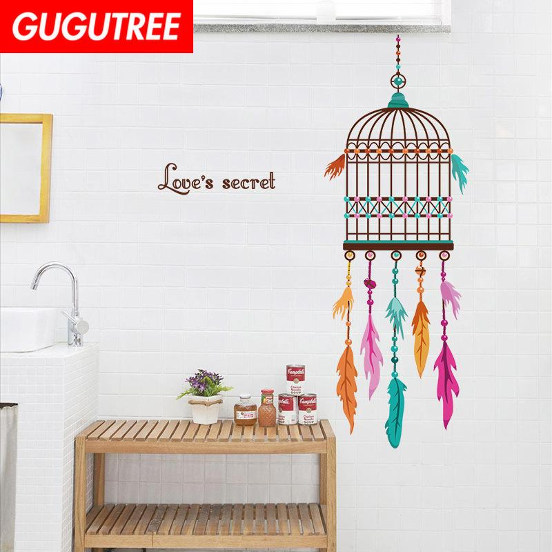 Decorate Home birdcage letter cartoon art wall sticker decoration Decals mural painting Removable Decor Wallpaper G-2387