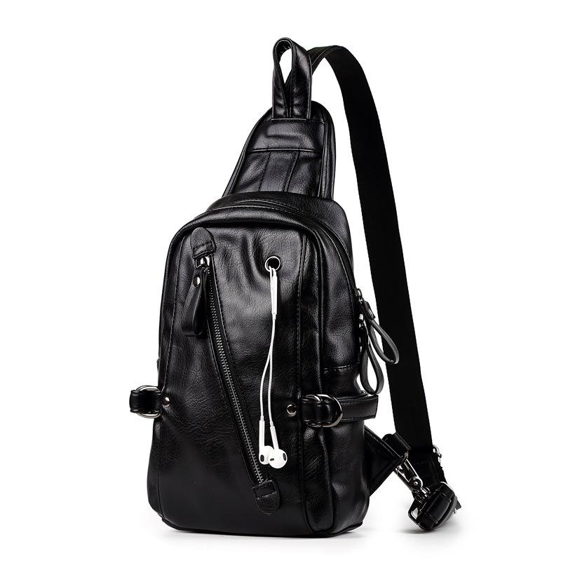 Men's Leather Sling Bag Chest Crossbody Shoulder Bag Soft Leather Male Messengers Wateproof Cross body Chest