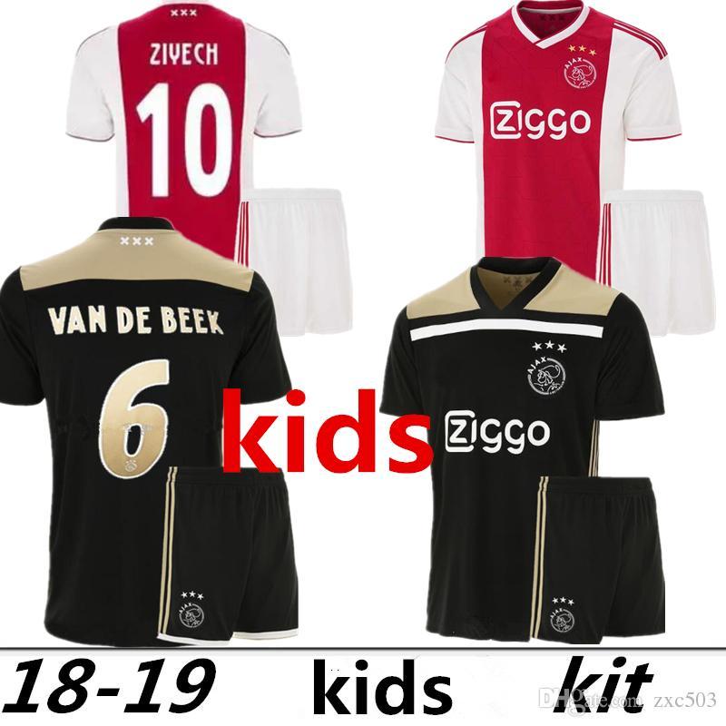213ead6de Thai Quality 18 19 Ajax FC Kids Soccer Jersey 2018 KLAASSEN FISCHEA ...
