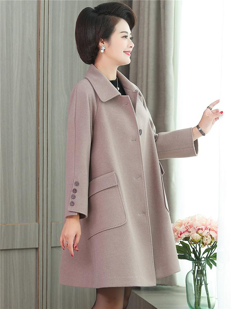 3837c4884b8e 2018 Mother's woolen overcoat 40-50year-old woman's coat temperament medium-long  middle autumn and winter clothing foreign style