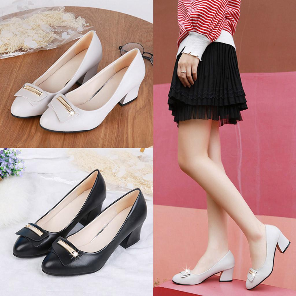 Designer Dress Shoes 2019 Women S Pumps New Fashion Spring Summer Ladies  Metal Square Heel Single Office Wedding Walking Party Pump Hot Pink Shoes  Munro ... 9c2fae07d043
