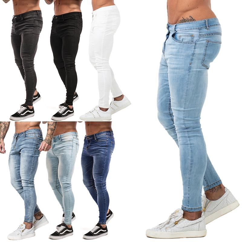 a747a9c71 Compre Pantalones Vaqueros Pitillo Para Hombre 2019 Pantalones Vaqueros  Súper Flacos Hombres Pantalones De Mezclilla Elásticos No Rasgados Elástico  Grande ...
