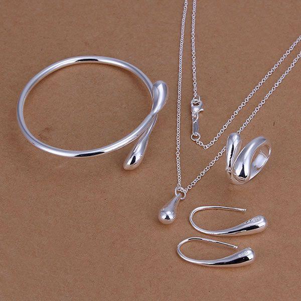 S222 925 vente chaude bijoux en argent ensemble, bijoux de mode ensemble Droptear Bague Boucles D'oreilles Bracelet Collier / amwajeda ayoajpva