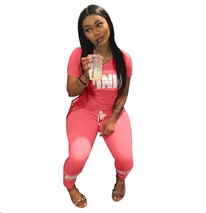 a091c1d127f Free Shipping2019 Pink Letter Print 2 Two Piece Set Top And Pants ...
