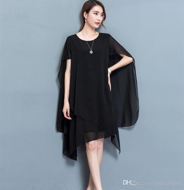 899ab0d5e5c Fashion Plus Size Summer Cape Dress Summer Casual Chiffon Dresses Women  Clothing Scoop Neck Mini Dress Casual Black Mini Dresses Peplum Maxi Dress  Online ...