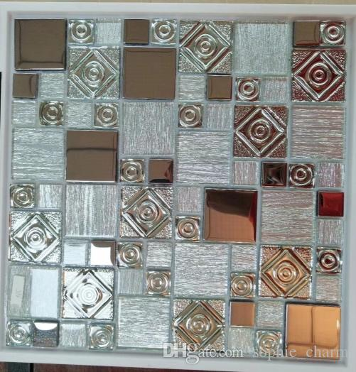 Sensational Silver Rainbow Glass Mosaic Tile Backsplash Ssmt402 Bathroom Glass Electroplating Shower Wall Tiles Home Interior And Landscaping Ologienasavecom