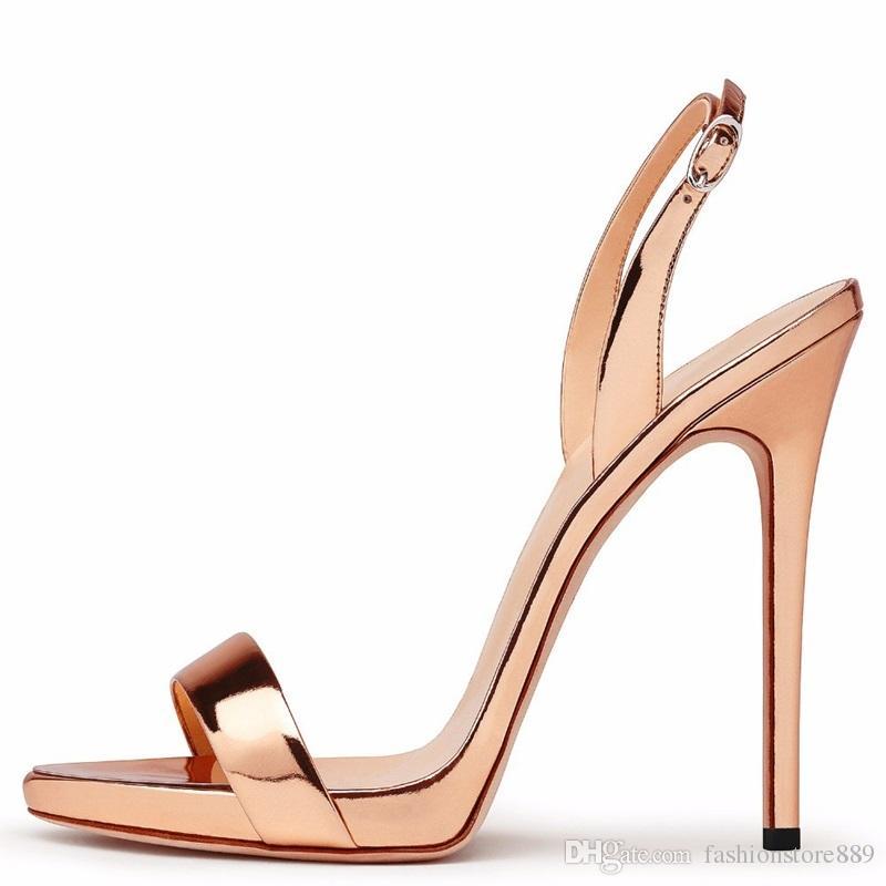 20d2de7ea653 2018 Shoes Woman Heels Gold Metallic Sexy Peep Toe Sandal 12 CM High Heel  Platform Sandals Female Party Dress Shoes Big Size Gold Sandals Sandals For  Women ...