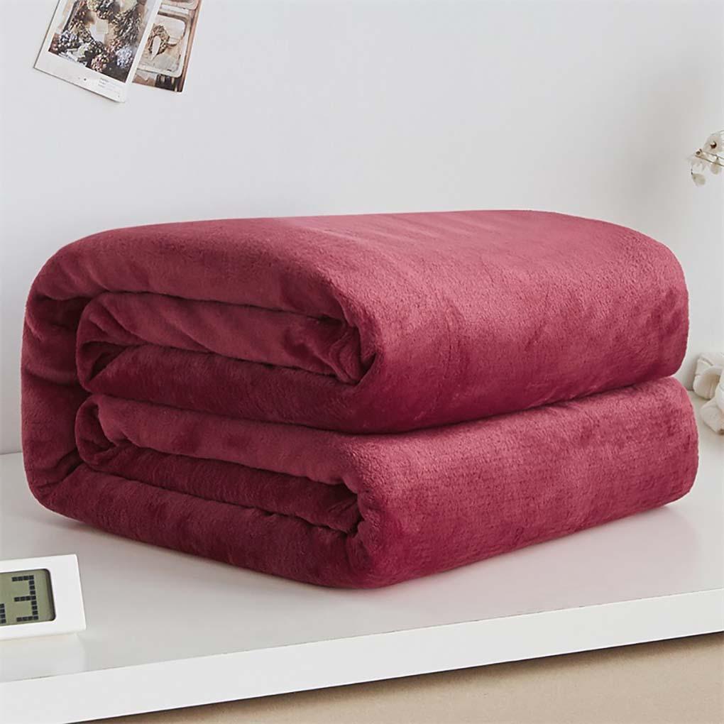 Solid Color Flannel Coral Fleece Blanket Super Soft Coverlet Sofa