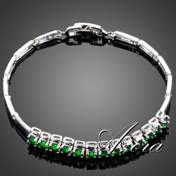 AZORA Düğün Takı Bahar 13 adet Kadınlar için Bir Satır Yeşil Kübik Zirkonya Bilezik TS0076