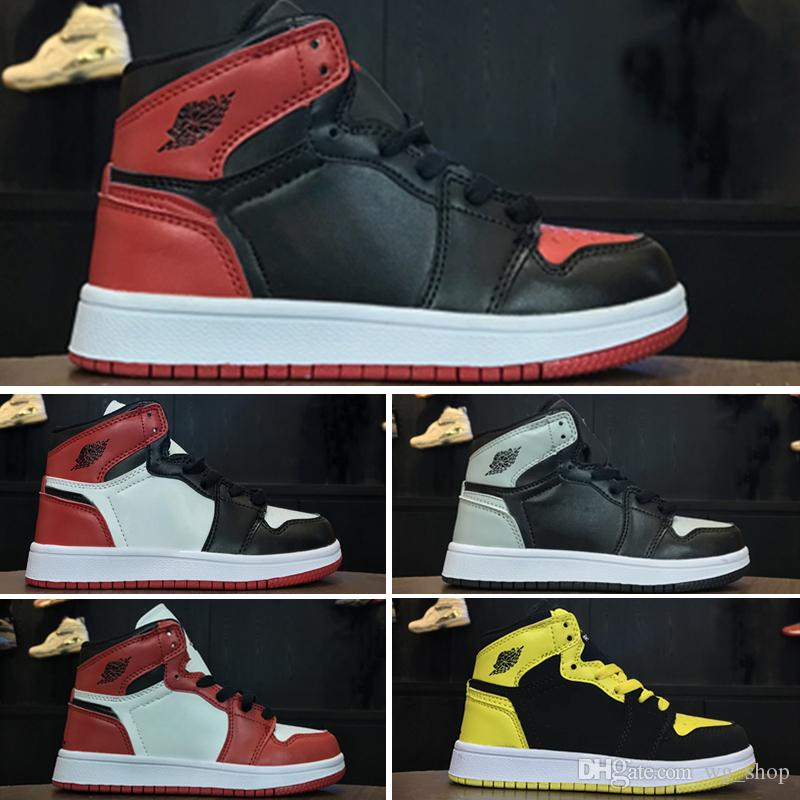 official photos 3d57e 836f6 Kids shoes OG 1 1s 6 6s 11 11s 12 12s 13 13s Basketball Shoes Children Boy  Girl 1 1s Top 3 Bred Black Red White Sneakers Kids Birthday Gift