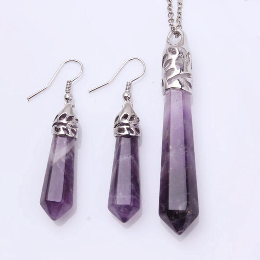 FYJS Unique Silver Plated Hexagon Prism Natural Purple Amethysts Pendant Earrings Stone Jewelry Sets