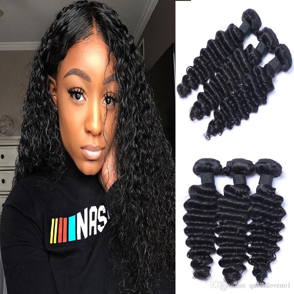 Hair Weaves Brazilian Deep Wave Hair 100% Human Hair Bundles Remy Hair Extension Double Weft 8-30 Inch Natural Color Can Buy 3 Or 4 Bundles Hair Extensions & Wigs
