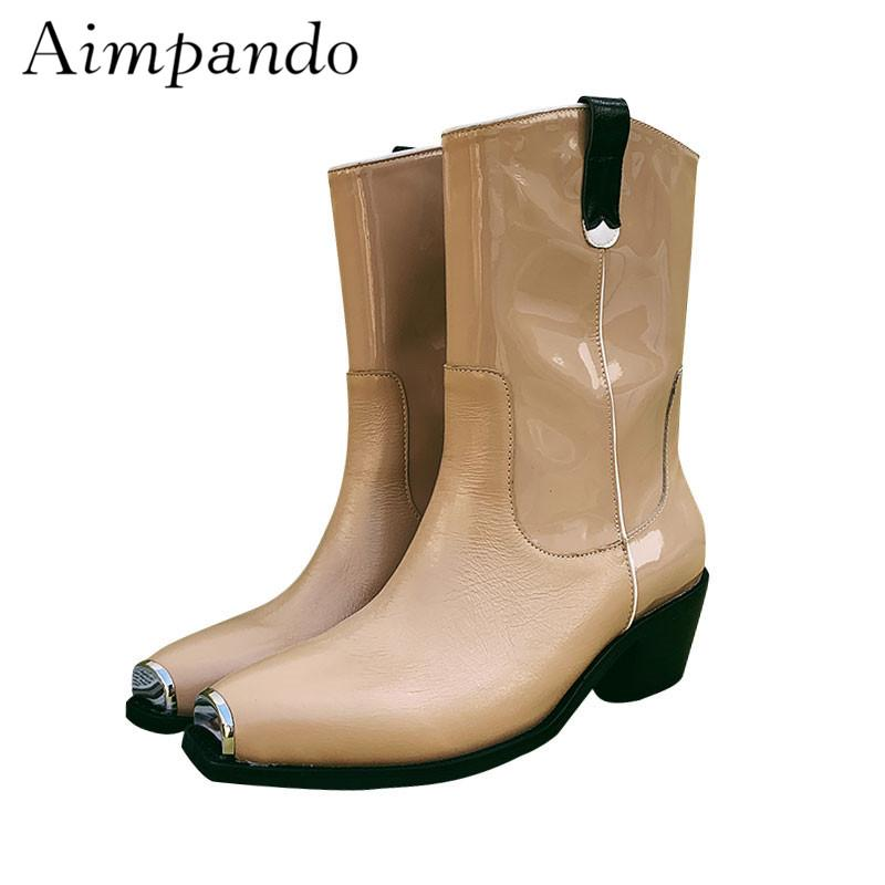 fbd01a9b89 Square Heel Mid Calf Boots Shiny Patent Leather Square Toe With ...