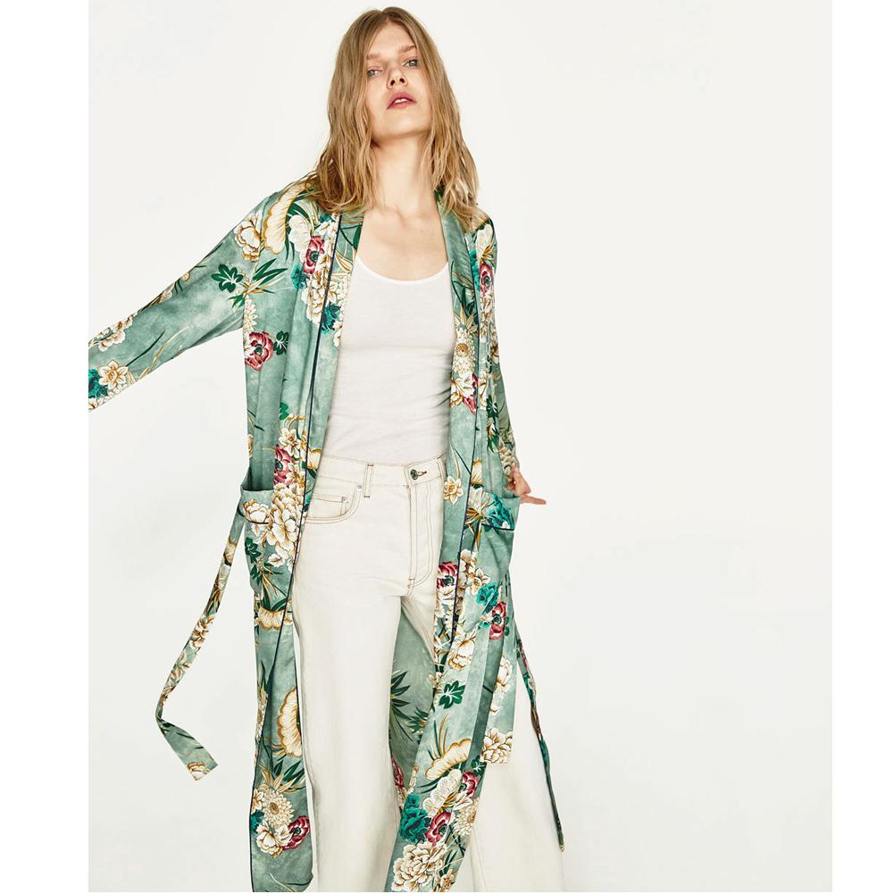 2a468081cd8d 2019 2019 New Vintage Pareo Retro Floral Print Green Long Kimono Jacket  Long Sleeve Cardigan Maxi Shawl Summer Tops Belted Beachwear Q190401 From  Lizhang02, ...