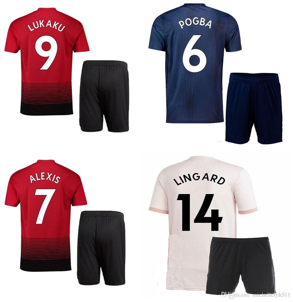 18 19 Kits De Fútbol POGBA Shorts De Camiseta De Fútbol LUKAKU MATIC  RASHFORD 2018 2019 ALEXIS Mata Conjuntos De Fútbol MUTD Terceros Del Equipo  Visitante ... 46cee60cd6e38