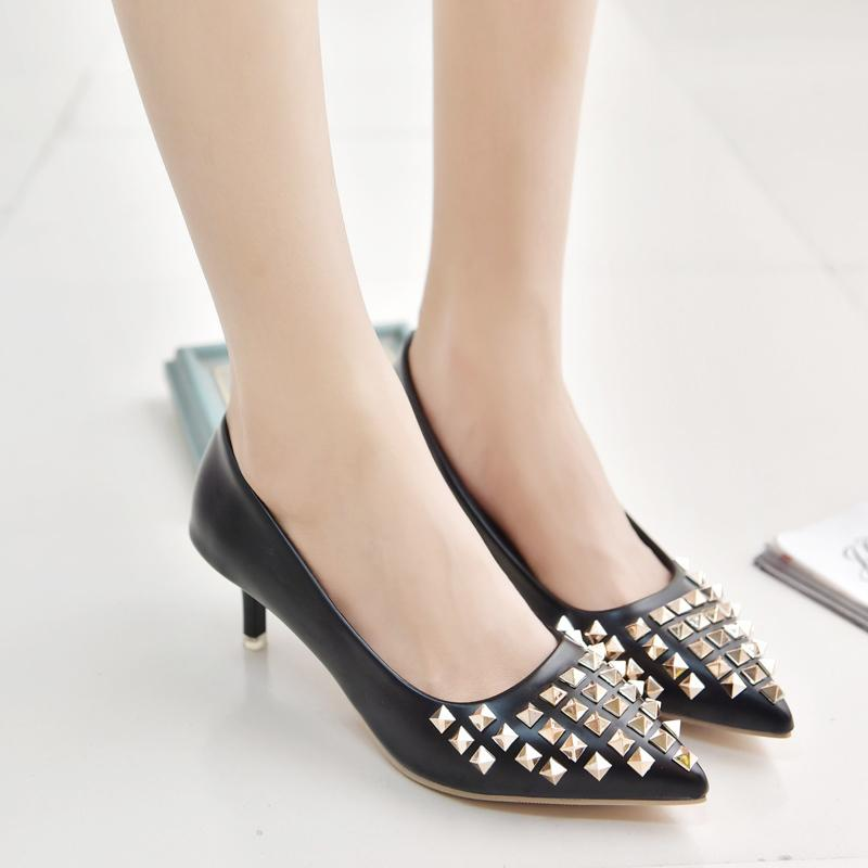 73ec8102edf Shoes Lucyever 2019 Spring Summer Women S Rivets Punk Pumps Fashion PU  Leather Stilettos High Heels Pointed Toe Slip On Woman Black Shoes Nude  Shoes From ...