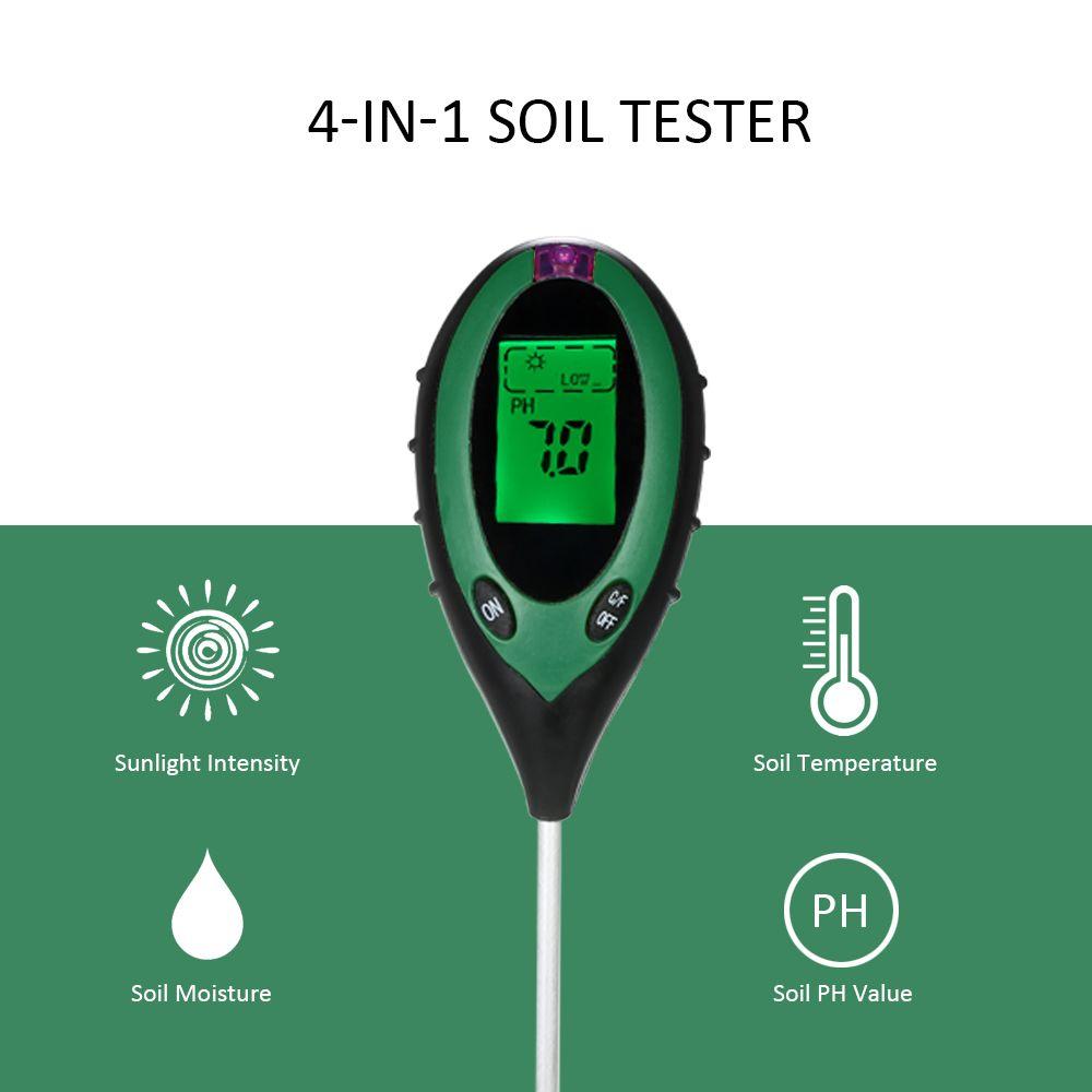 4 in 1 Pianta Fiori Terreno PH Umidità Luce Terreno Misuratore di temperatura Termometro Suolo Strumento di rilevamento Luce solare Intensità Tester