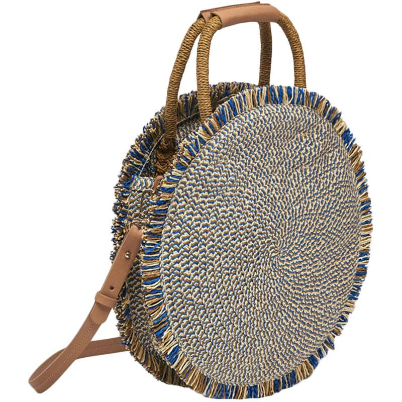 Fashion-Fashion New Tassel Handbag Straw Bag Women Beach Woven Bag Round Tote Fringed Beach Woven shoulder Travel