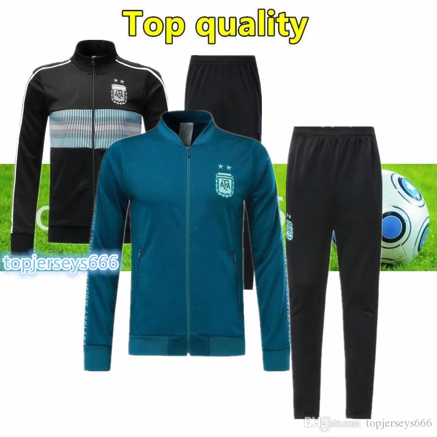 reputable site 6c522 25af1 2020 New Argentina soccer tracksuit zipper jacket kit 19/20 MESSI DYBALA  ICARDI argentina football training suit pants new season kit