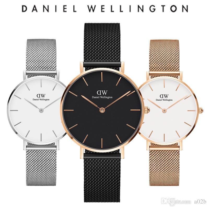 e0bd192a79d Compre Presentes De Ano Novo Mulheres De Luxo Relógio De Quartzo 32 MM Milão  Relógios E Jóias Pulseiras Moda Senhora Elegante Relógio D W Natal Com  Caixa ...