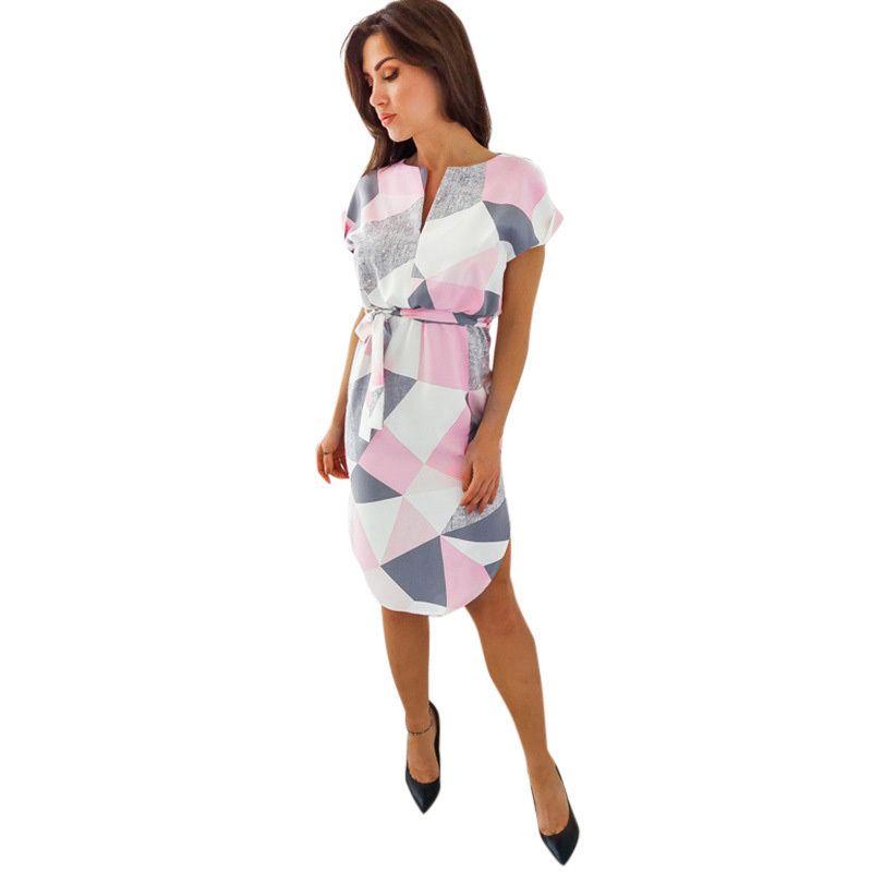 c11ee0c9b14 Elegant Women Midi Dress Geometric Print Color Block Short Sleeves Robe  Femme Ete 2019 V Neck Split Belt Casual Dress White Pink Dress For Womens  White ...