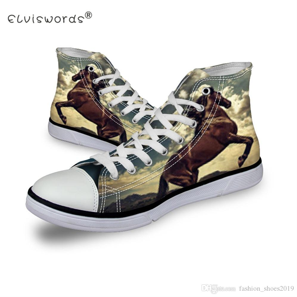 783c746fe73f ELVISWORDS Crazy Horse Printed Men Shoes Custom Animal Canvas Shoes Student High  Top Lace Up Teenager Flats Adult Footwear Male  285154 Comfort Shoes ...