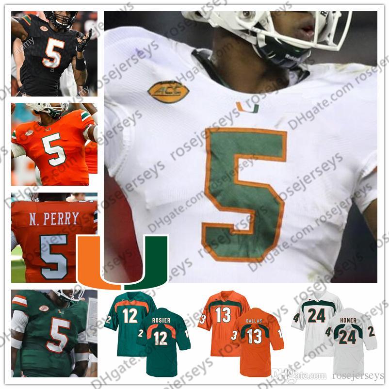 new concept 06699 bb927 2019 Miami Hurricanes 4 Jaquan Johnson Jeff Thomas 13 DeeJay Dallas 22  Robert Burns 24 Travis Homer Green Orange Black White Football Jersey