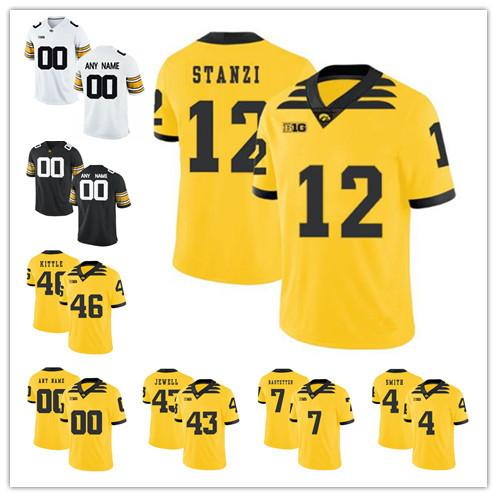 more photos e6921 77a06 Custom Iowa Hawkeyes 2019 Mens College Football jersey Any Name Number  Personalized Yellow White Black Epenesa Stanley 12 Fant Stanzi Jersey