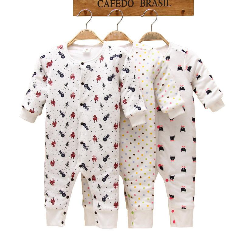 100% Cotton Thick Winter Baby Rompers Cartoon Long-Sleeve Pajamas Warm Baby Girls Clothes Infant Clothing Baby Boys Costume
