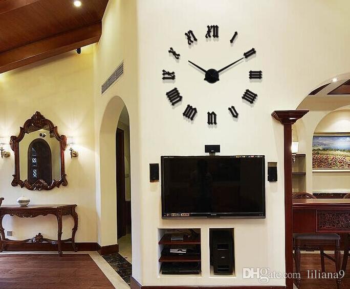9e74c554b3cc Compre Gran Tamaño Creativo Diy Reloj De Pared Tridimensional Espejo  Decoración Reloj De Pared Romano Digital Acrílico Reloj De Pared A  30.16  Del Liliana9 ...