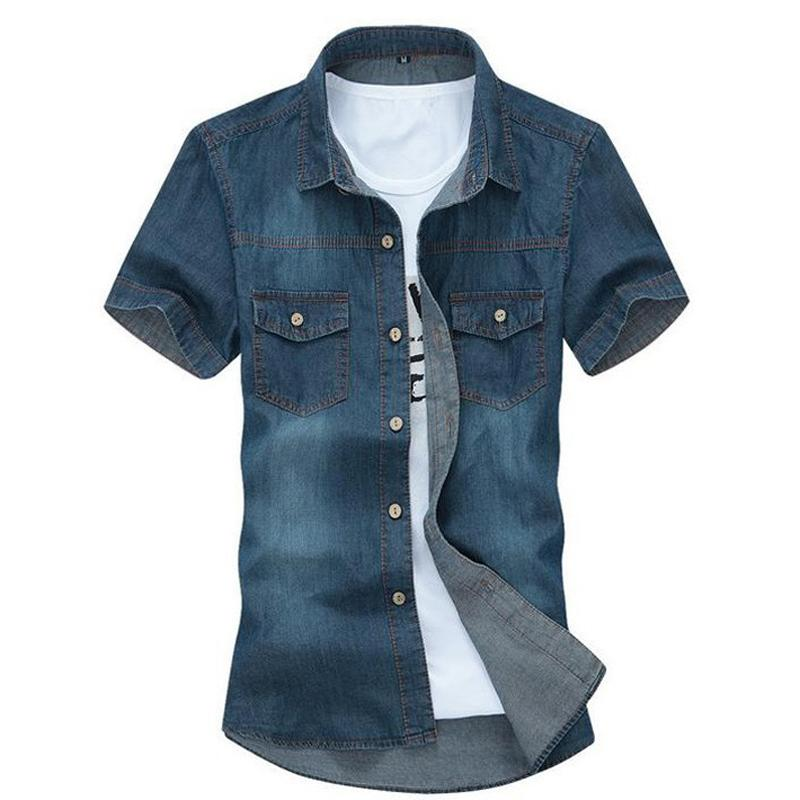 Men 'S Solid Short -Sleeved Shirt Male Casual Comfortable Korean Style Turn -Down Collar Denim Shirts