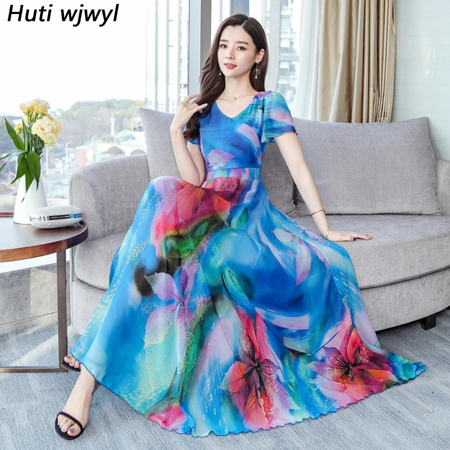 4438344ddb5b4 2019 Plus Size Floral Chiffon Boho Midi Dresses Summer Vintage Beach  Vacation Maxi Sundress Elegant Women Bodycon Party Vestidos