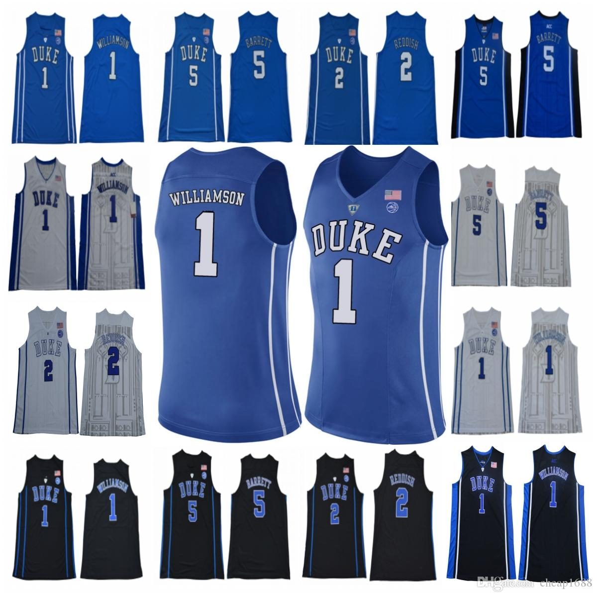 huge discount 2f50c 3fab9 NCAA Duke Blue Devils 1 Zion Williamson 5 RJ Barrett 2 Cam Reddish White  Blue Black men youth College Basketball Jerseys