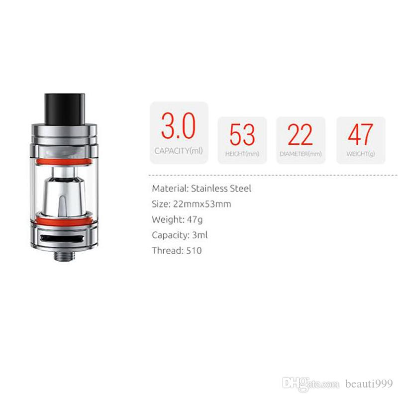 Single TFV8 Baby Tank 3.0ml Capacity with V8 Baby Q2 T8 Coil 22mm Atomizer E-Cigarette Tank 510 Thread Vaporizer Tank