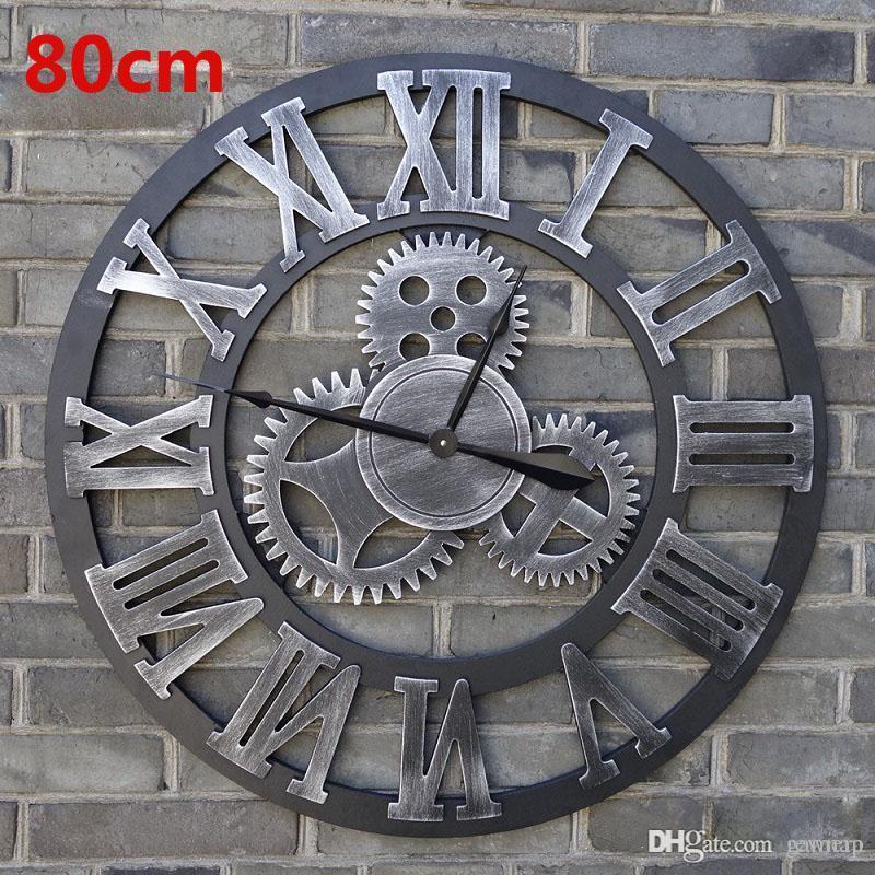 Großhandel-Übergroße Vintage Wanduhr 3d Ganguhren Wanduhren Holz Retro  Große Saat Große Uhr Reloj Pared Relogio de Parede Horloge Murale
