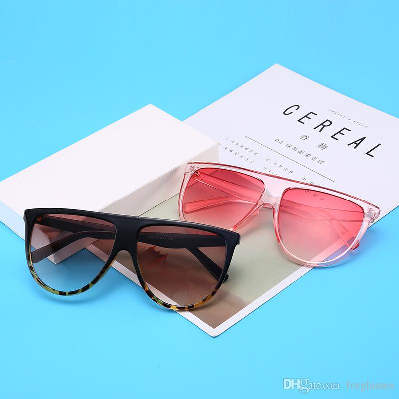 2019 Fashion Flat Top Sunglasses Cat Eye Oversized UV400 Designer sunglasses authentic with cases and box