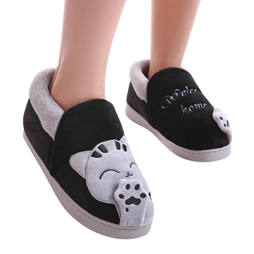 48c6e08803dcf 2019 Men Winter Home Slippers Cartoon Cat Non Slip Warm Indoors Bedroom  Floor Shoes Soft Plush Masculino Shoes Fur Funny From Aurorl, $62.7 |  DHgate.Com