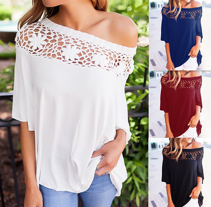 79620b2f38943 Women Shirt T Shirt Half Sleeve Tee Tops Blusa Lace Up Hollow Out Slash  Neck Sexy Off The Shoulder Loose Casual Vintage Tees Unique T Shirts From  ...