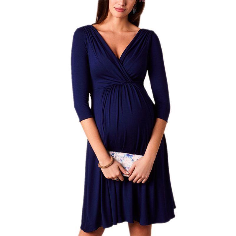 4a3555fdcb496 Maternity Dresses New V-neck Elegant Evening Dress Plus Size Breastfeeding  Pregnancy Dress Maternity Clothes For Pregnant Women Y190522