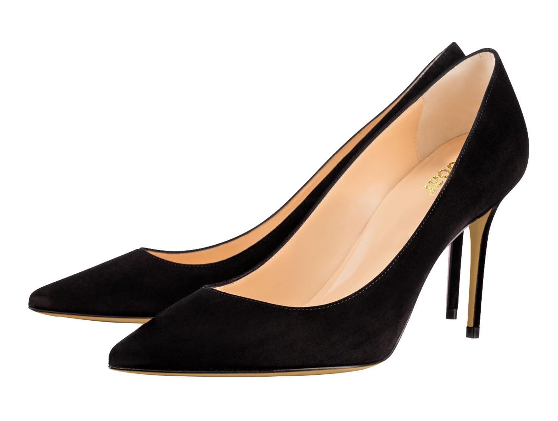 Acheter Mode Féminine Talons Hauts Semelle Rouge Sexy Bouche Peu Profonde  8.5cm Talon Aiguille Dames Chaussures Simples Daim OL Escarpins De  45.05  Du ... 62c0eaca13e2